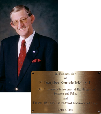 picture of F. Douglas Scutchfield and a picture of his recognition