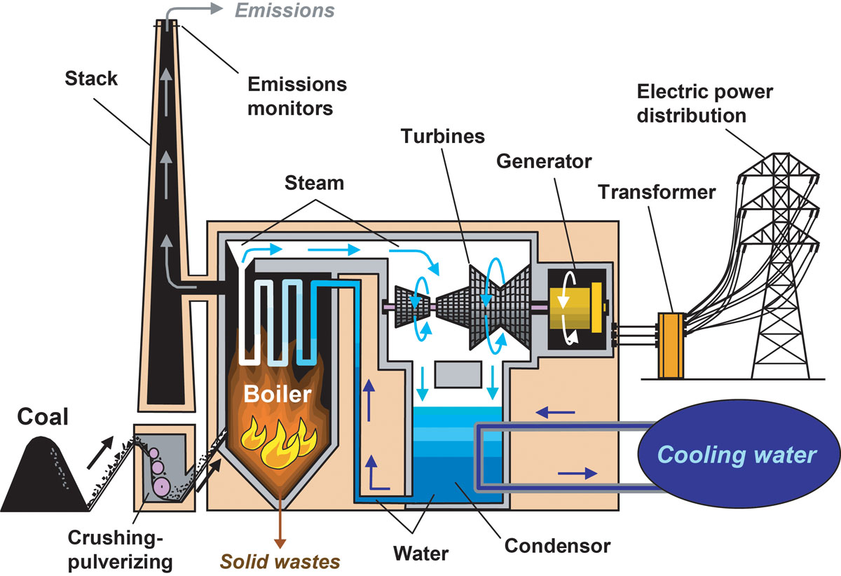 How coal is used to generate electricity in a conventional coal-fired power  plant with a pulverized coal boiler.