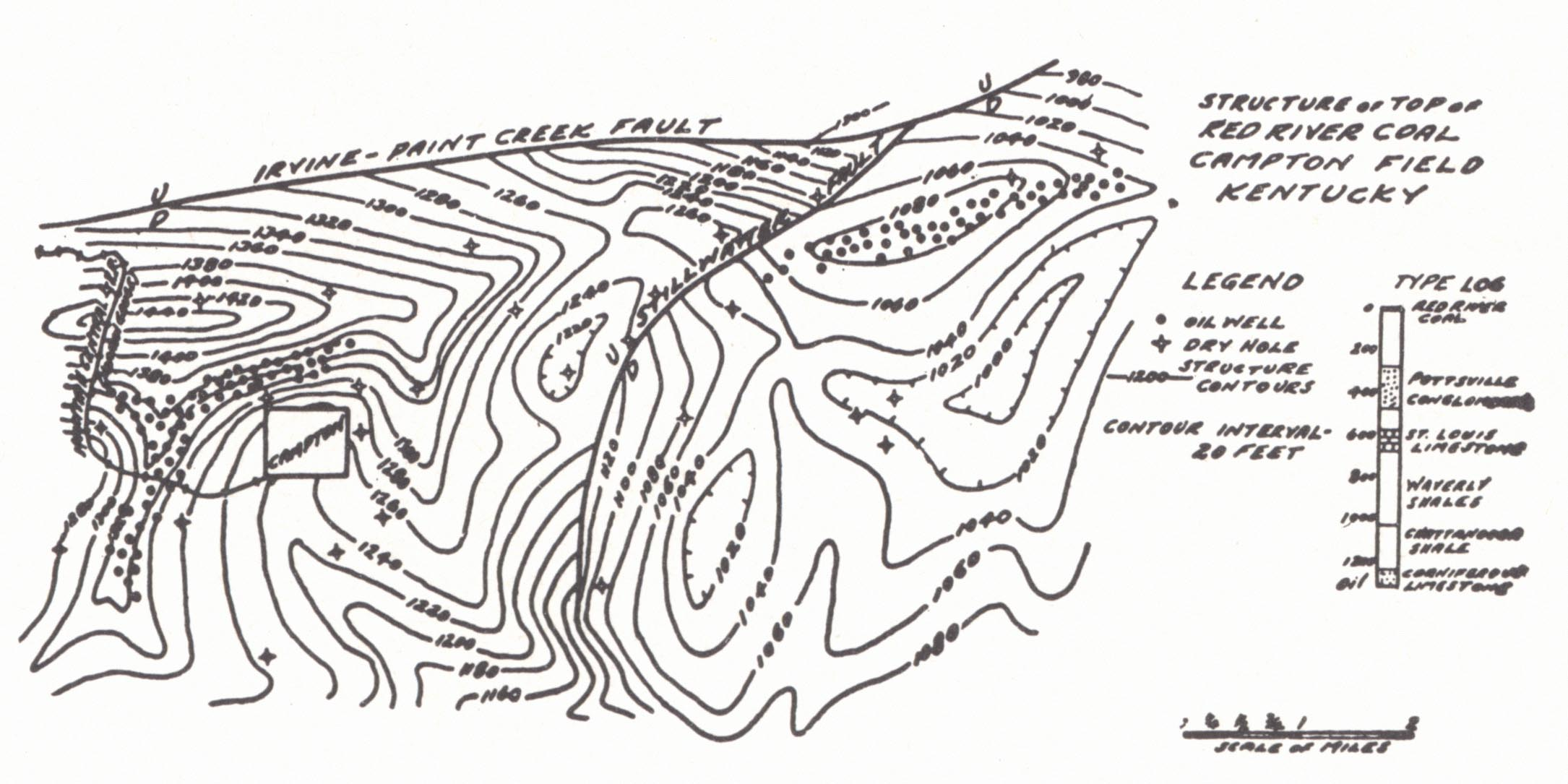 Geology Of Kentucky Chapter 23 Petroleum And Natural Gas Well Submersible Pump Moreover Wiring Diagram Fig 1 Structure Map A Portion Morgan County Showing The Caney Dome Irvine Paint Creek Fault Minor Structures Robinson Hudnall 1925