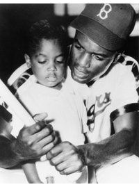 Brooklyn Dodger Jackie Robinson and son