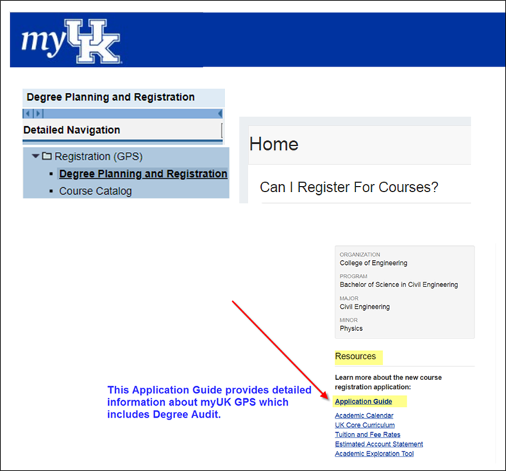 myuk gps degree audit information page for students