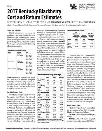University of KY publication ID-149, KY Blackberry Cost and Return Estimates