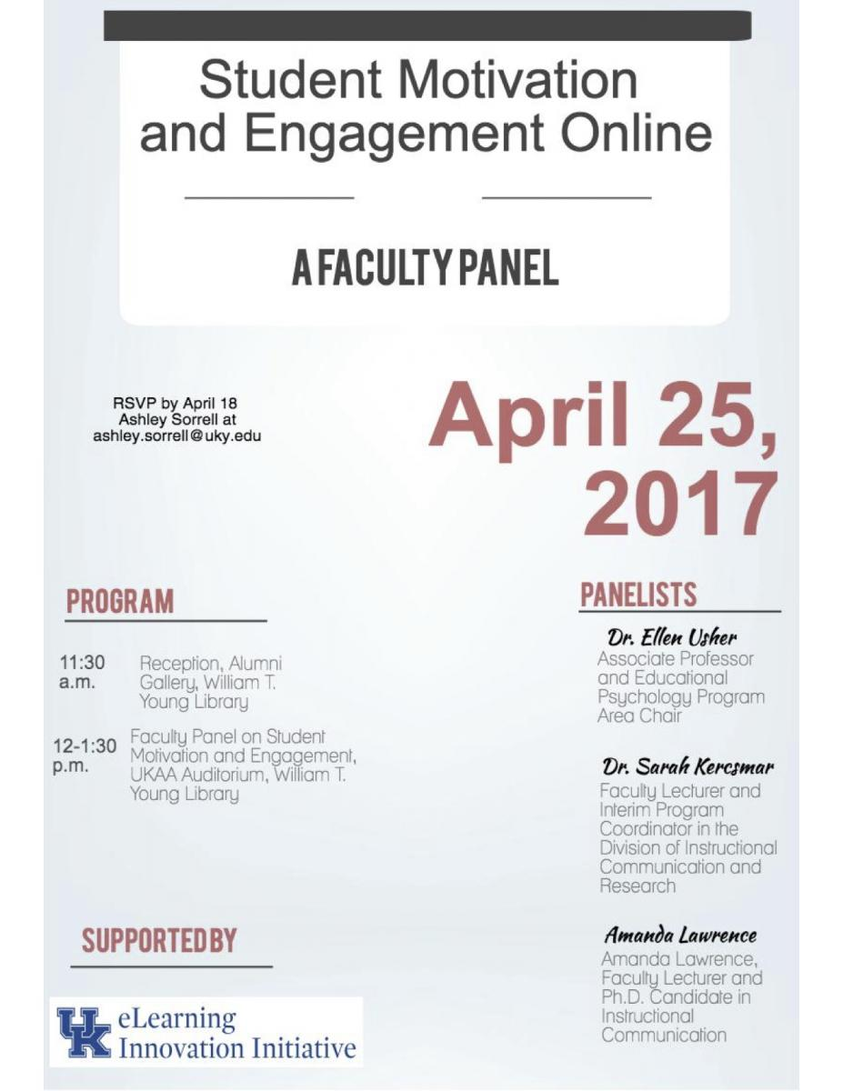 flier for the faculty panel