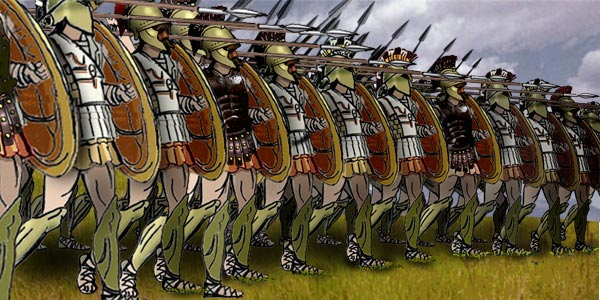 a drawing of a greek phalanx formation of soldiers that would have been used at the battle of thermopylae