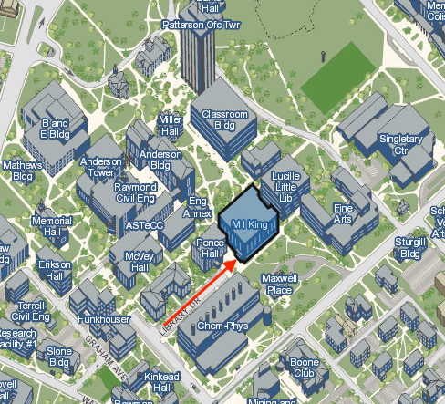 detail of north campus map with a red arrow pointing to the south entrance of king library, which is highlighted in blue