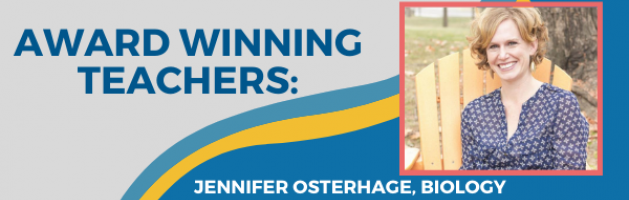 Award Winning Teachers profile, photo of Jennifer Osterhage, biology professor