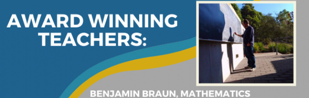 Award Winning Teachers profile, photo of Benjamin Braun, mathematics professor