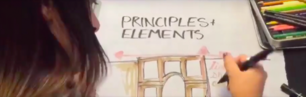 "student drawing a building facade under the title ""principles and elements"""
