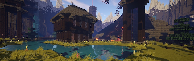screenshot of a minecraft game, featuring greek, european, and egyptian buildings behind a pond with mountains in the background