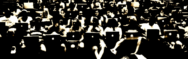 students in an auditorium classroom viewed from the front, all of whom have apple laptops open on their laps. the image is heavily stylized with chiaroscuro contrasts between light and dark