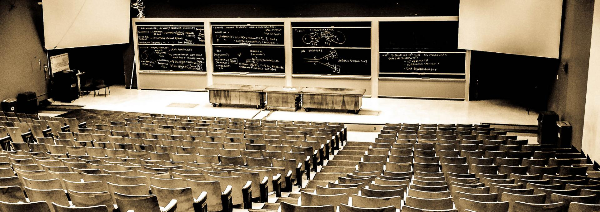 empty lecture hall viewed from the back