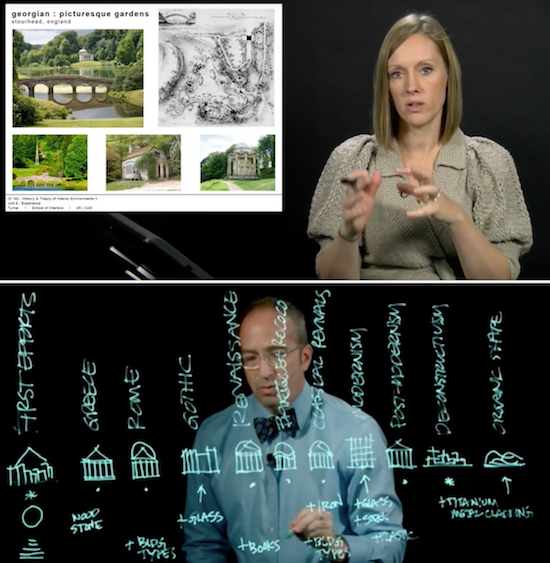 screen captures of helen turner and patrick lucas delivering online lectures