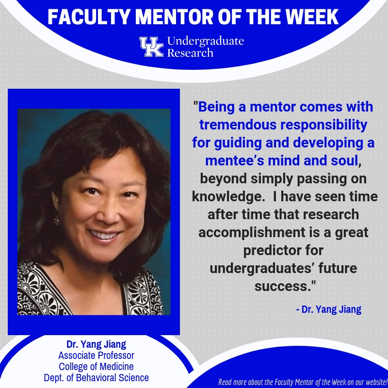 dr Yang Jiang university of kentucky college of medicine behavioral science research