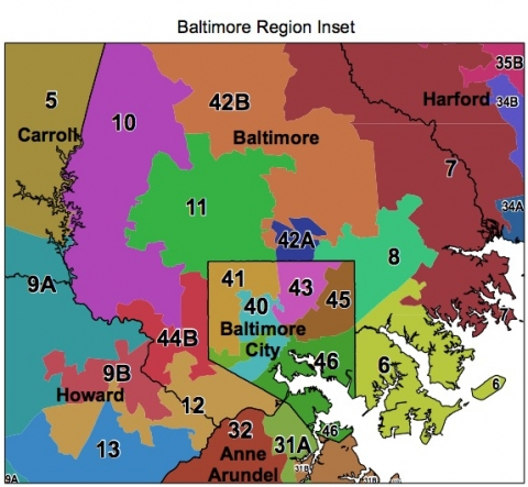 Map of voting districts in Baltimore, MD
