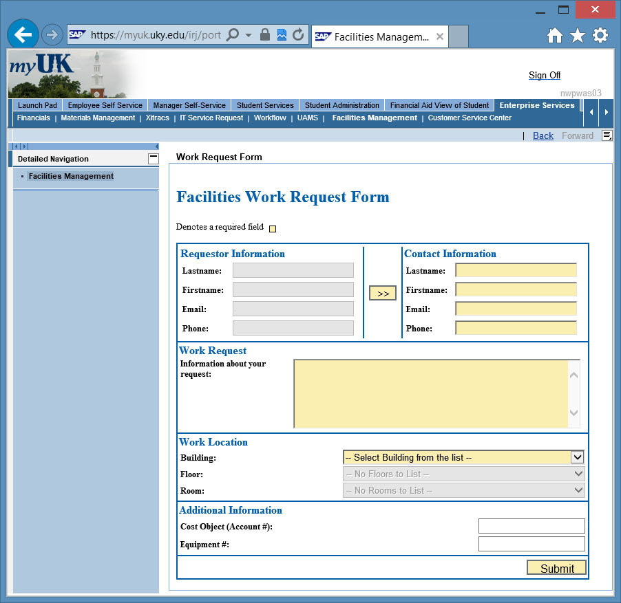 ... Use The U003eu003e Button To Automatically Copy The Requestor Information To  The Contact Information (when The Requestor Is The Contact For The Work  Request).