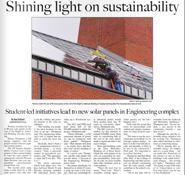 News article on Anderson Solar Array