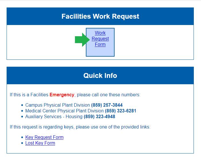 request work facilities management