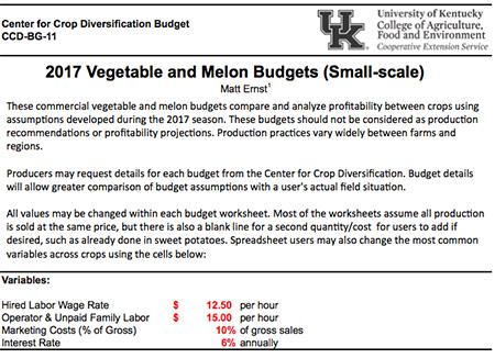 2017 Vegetable and Melon Budgets (small-scale)