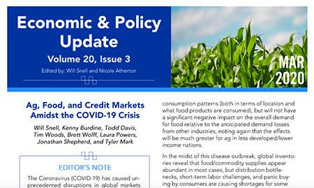 Front page of the March Economic & Policy Update