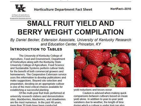 First page of fact sheet Small Fruit Yield and Berry Weight Compilation