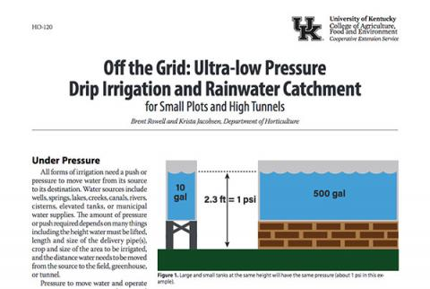 Cover of Off the Grid: Ultra-low Pressure Drip Irrigation and Rainwater Catchment for Small Plots and High Tunnels (HO-120)