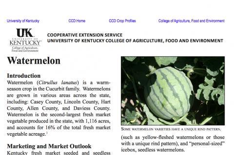 Center for Crop Diversification Watermelon Crop Profile