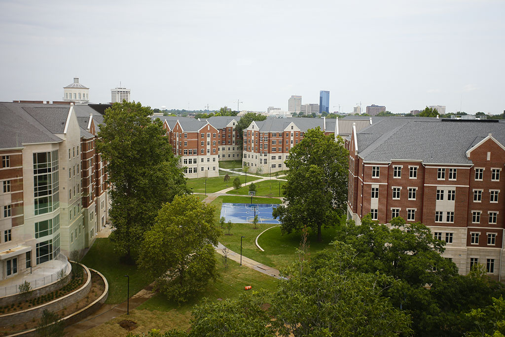 View overlooking Woodland Glen dormitory lawn.