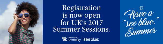 """Photo of female wearing sunglasses, text saying """"Registration is now open for UK's 2017 Summer Sessions"""" and """"Have a see blue. Summer"""""""