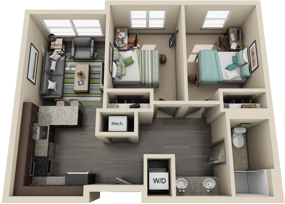 3D image of 2 bedroom apartment