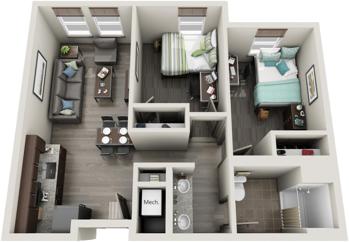 3D image of 2 bedroom deluxe suite