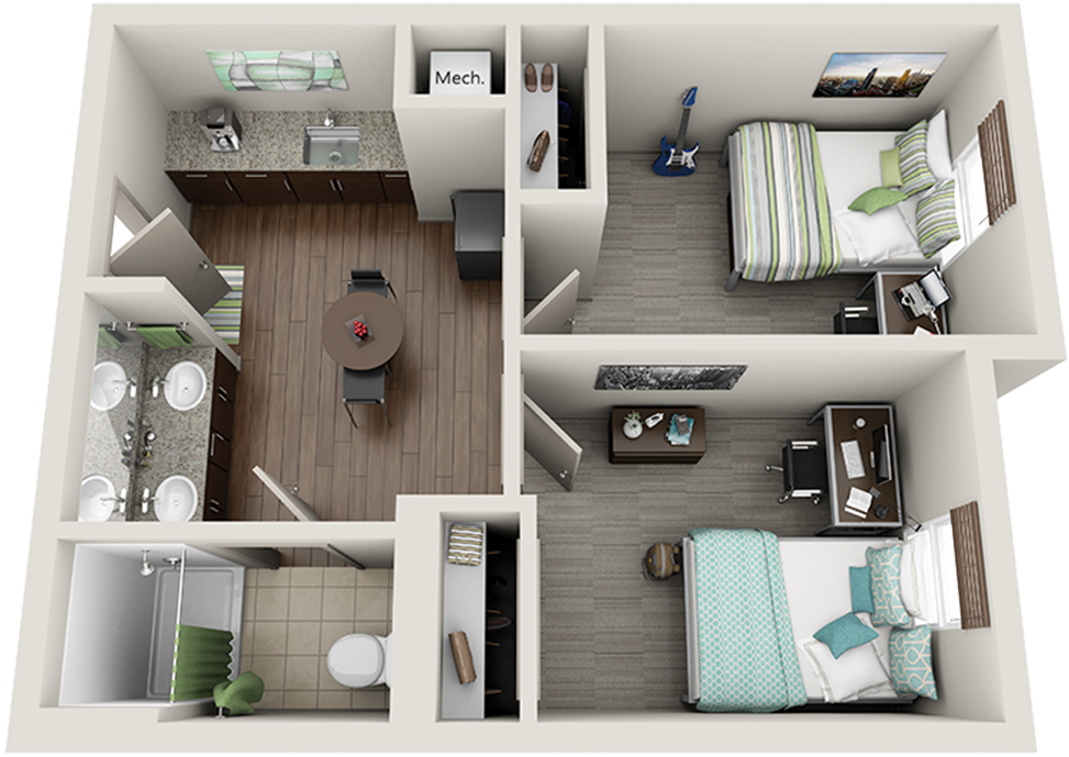 3D image of 2 bedroom suite