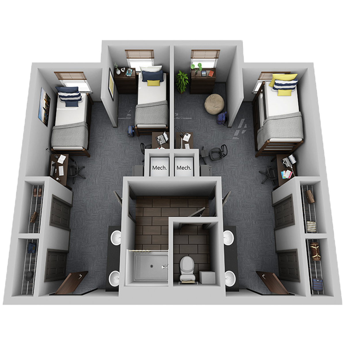 4 person suite photo overhead view