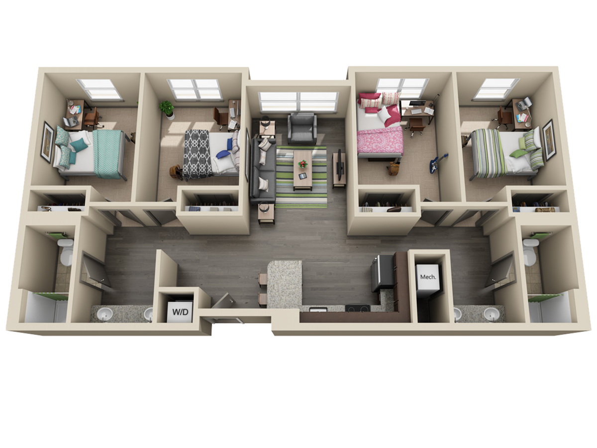 Room types uk housing for Four bedroom flat