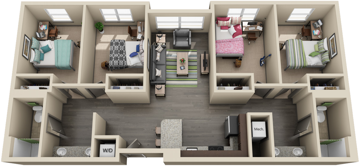 Image of 4 bedrrom apartment floorplan