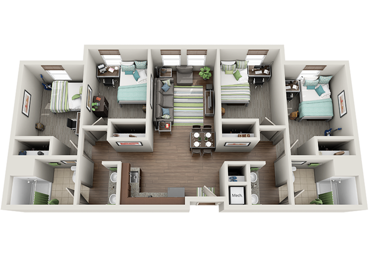 Room Types on Two Bedroom Plan Design