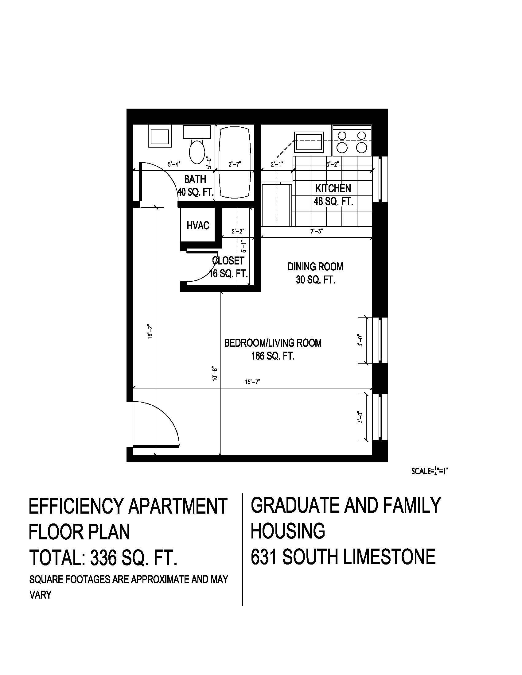 Floor plan for efficieny unit at 625 South Limestone Street