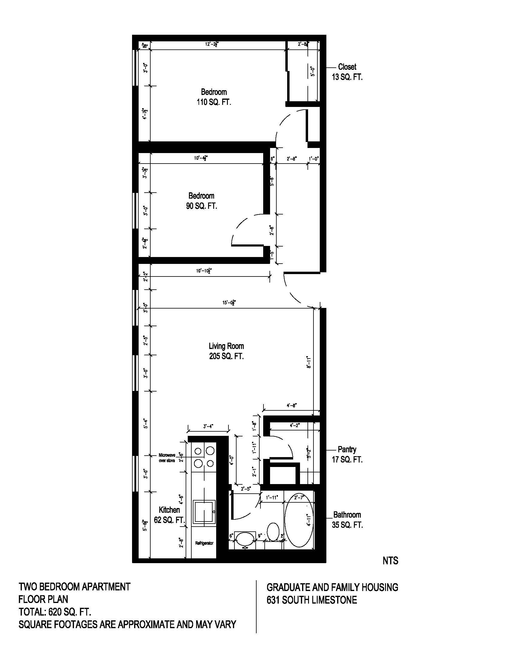 Floor plan for 2 bedroom unit at 625 South Limestone Street