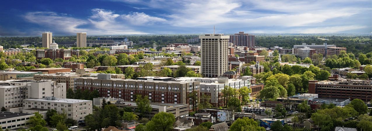 Aerial View of UK's Transformed Campus With Downtown Lexington in the Background