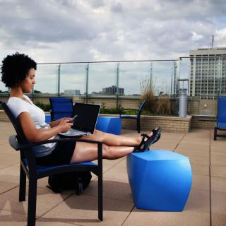 Student on Jewell Roof Terrace