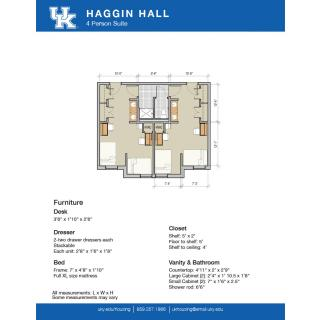 4 person suite floorplan for Haggin Hall