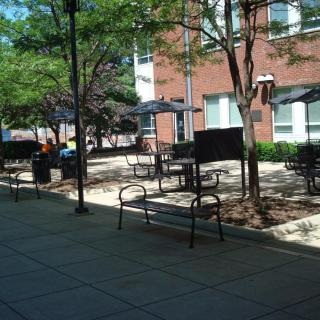 Roselle Hall Exterior Courtyard