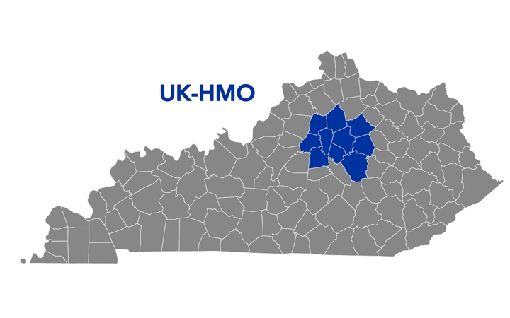Map of Kentucky with UK-HMO counties highlighted