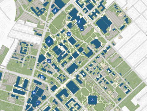 UK campus map with lacatation spaces.