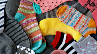 Pile of socks with different textures