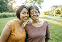 Woman spending time with aging family member