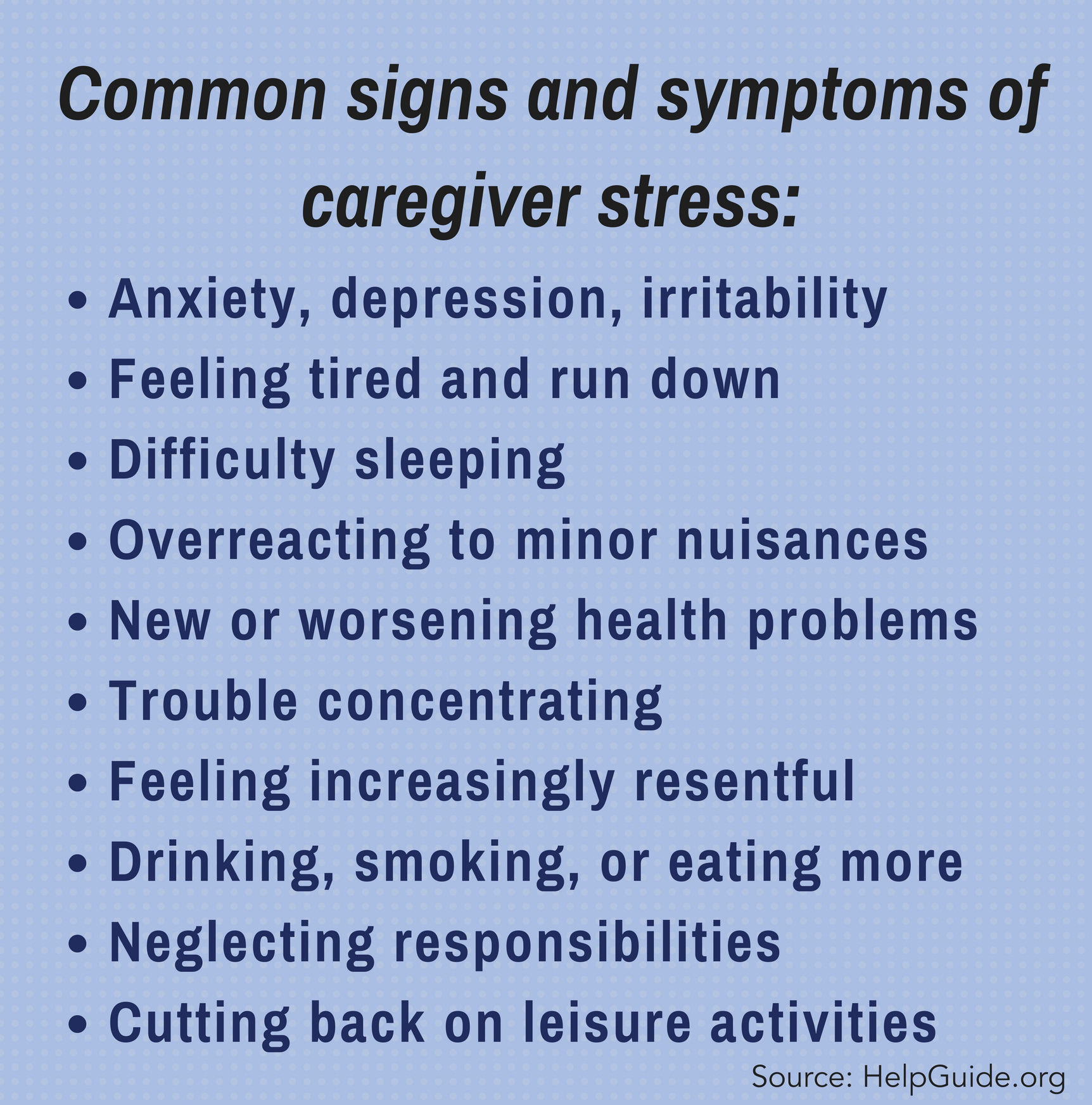 common signs and symptoms of caregiver stress
