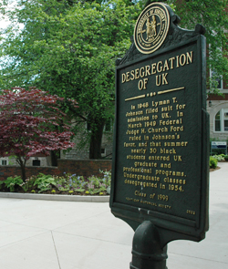 Photo of historical desegregation marker on the UK campus