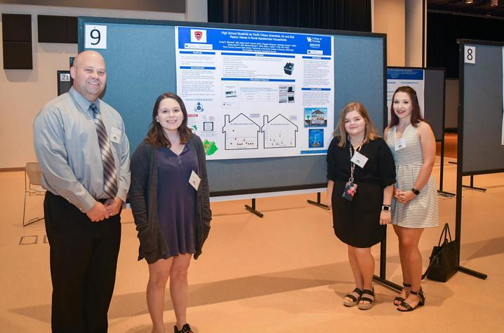 Craig Wilmhoff, Autumn Gwin, Raegan Simpson and Haley Hurd from Perry County Central High School in Hazard, KY at Appalachian Research Day 2019