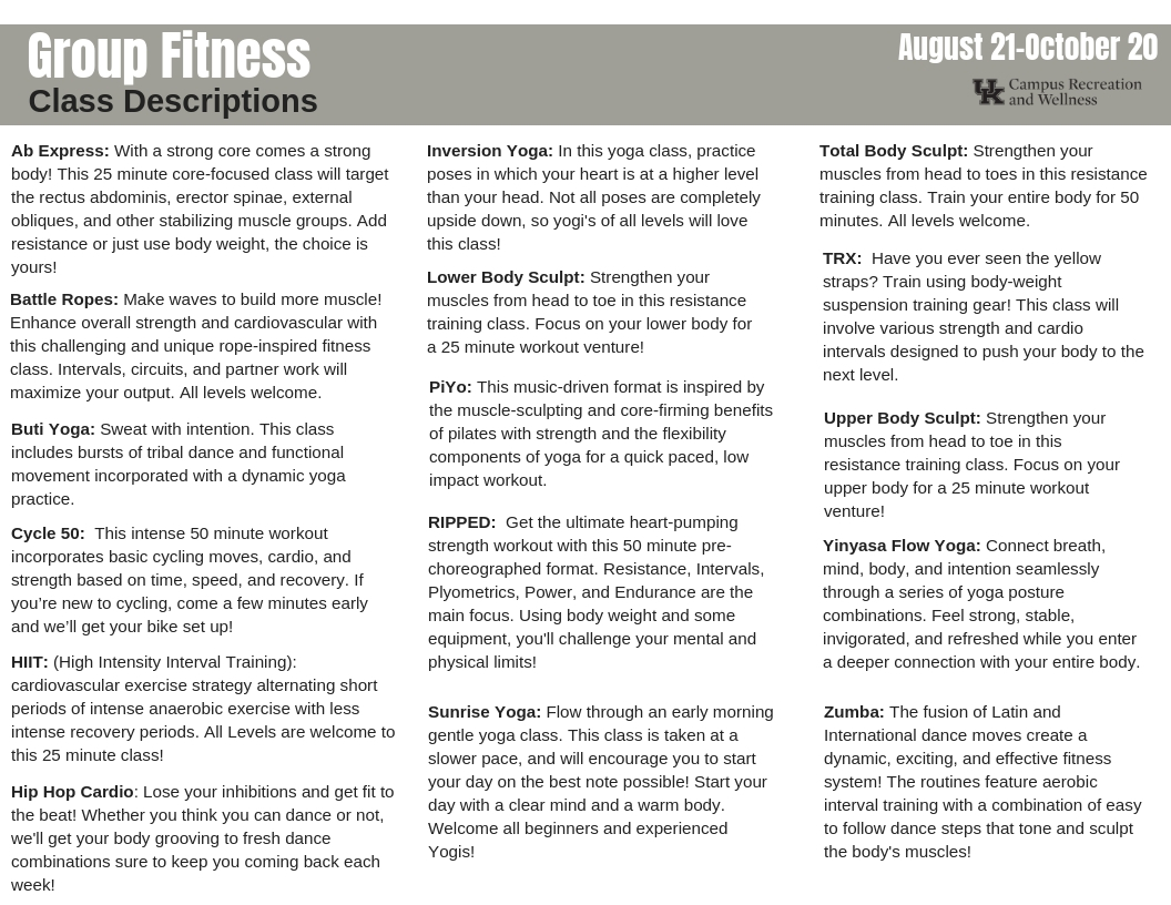 Click Here For Group Fitness Class Descriptions