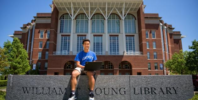 Student Outside Young Library